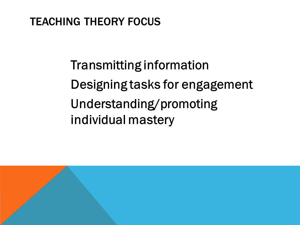 Teaching Theory Focus  Transmitting information designing tasks for engagement  understanding/promoting individual mastery