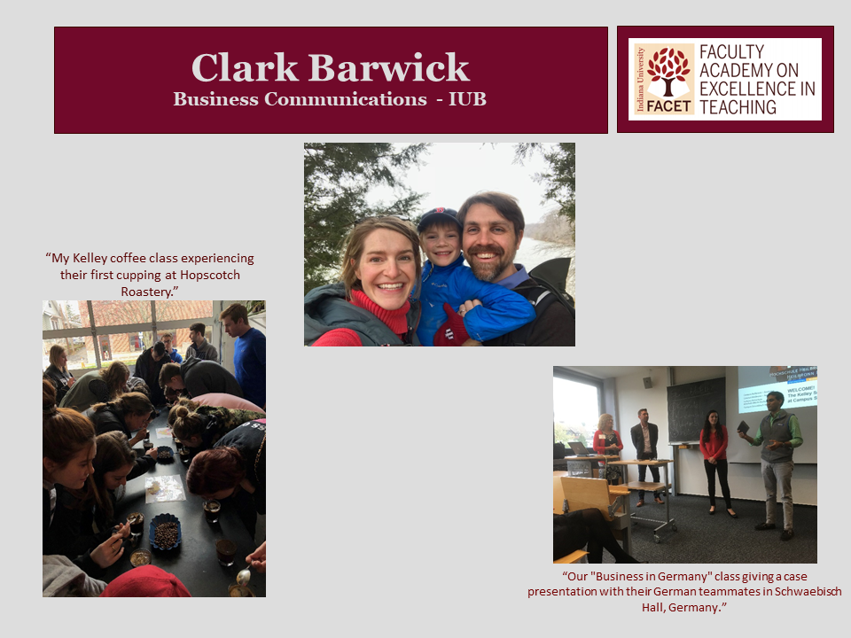 Clark Barwick, Business Communications, IUB
