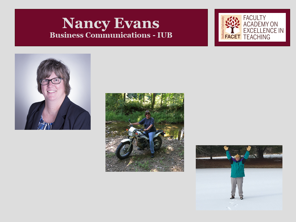 Nancy Evans, Business Communications, IUB